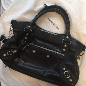 Authentic Balenciaga first bag black and silver